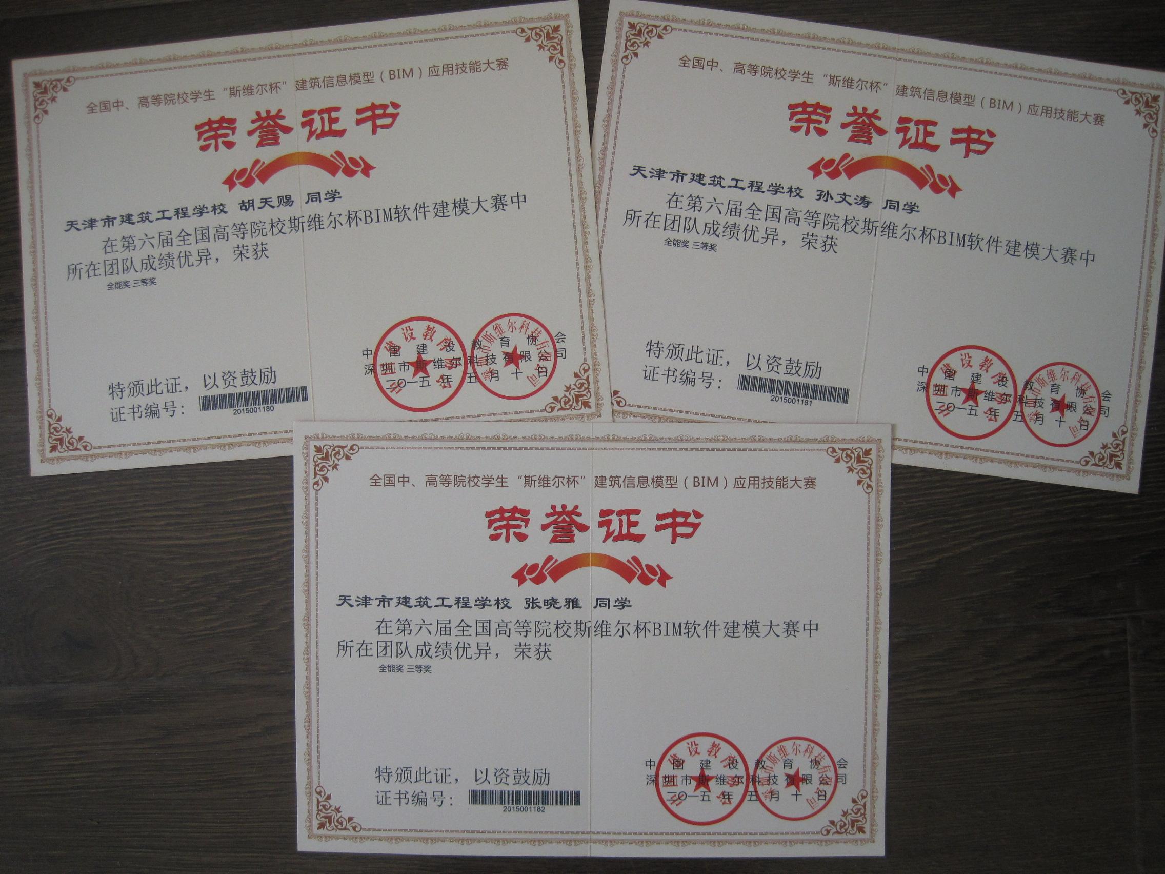 全国BIM大赛获奖证书
